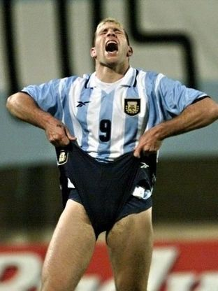 Martin Palermo of Argentina shouts after having tu